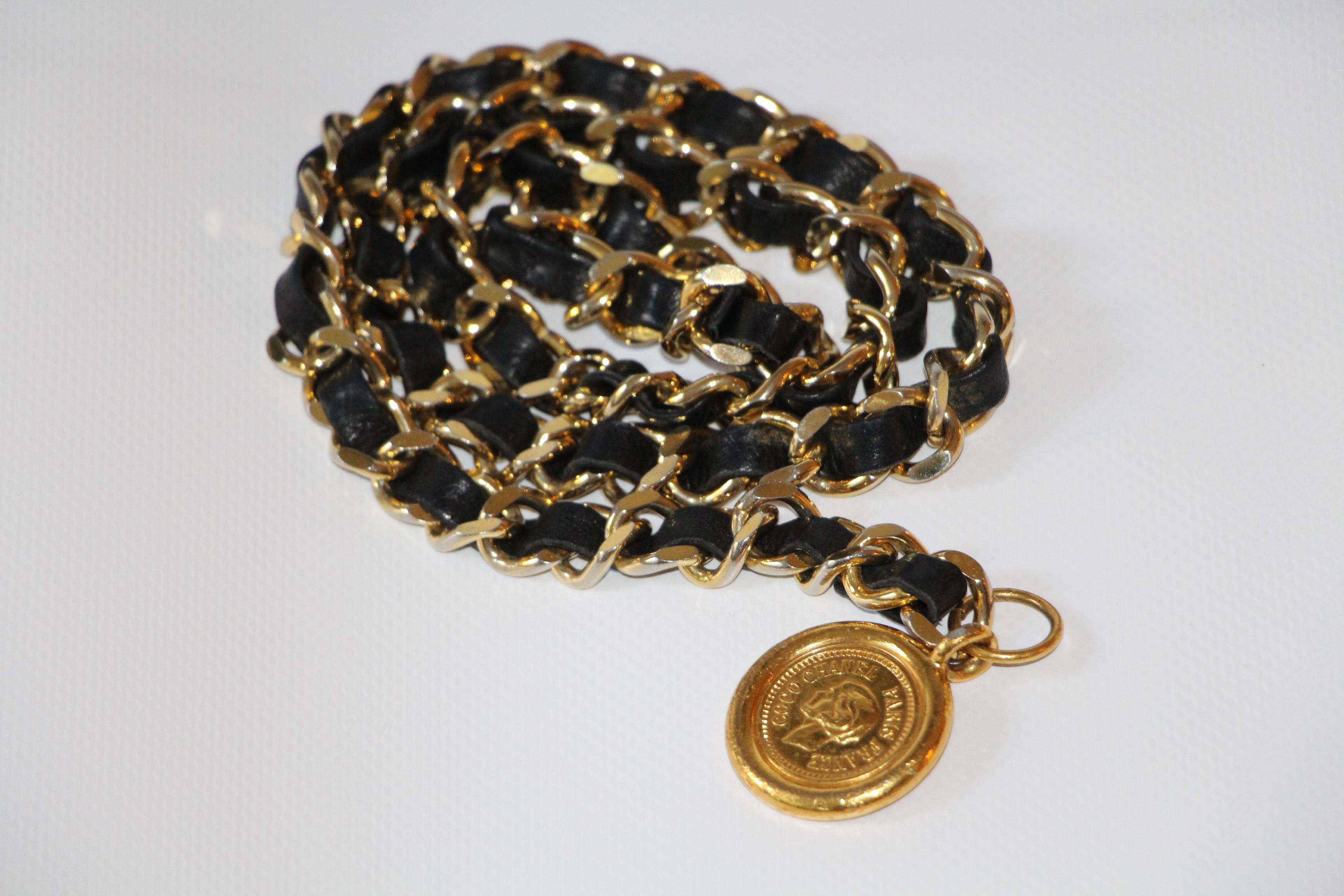 chanel superb g rtel kette metall gold ineinandergeschlungen leder schwarz ebay. Black Bedroom Furniture Sets. Home Design Ideas