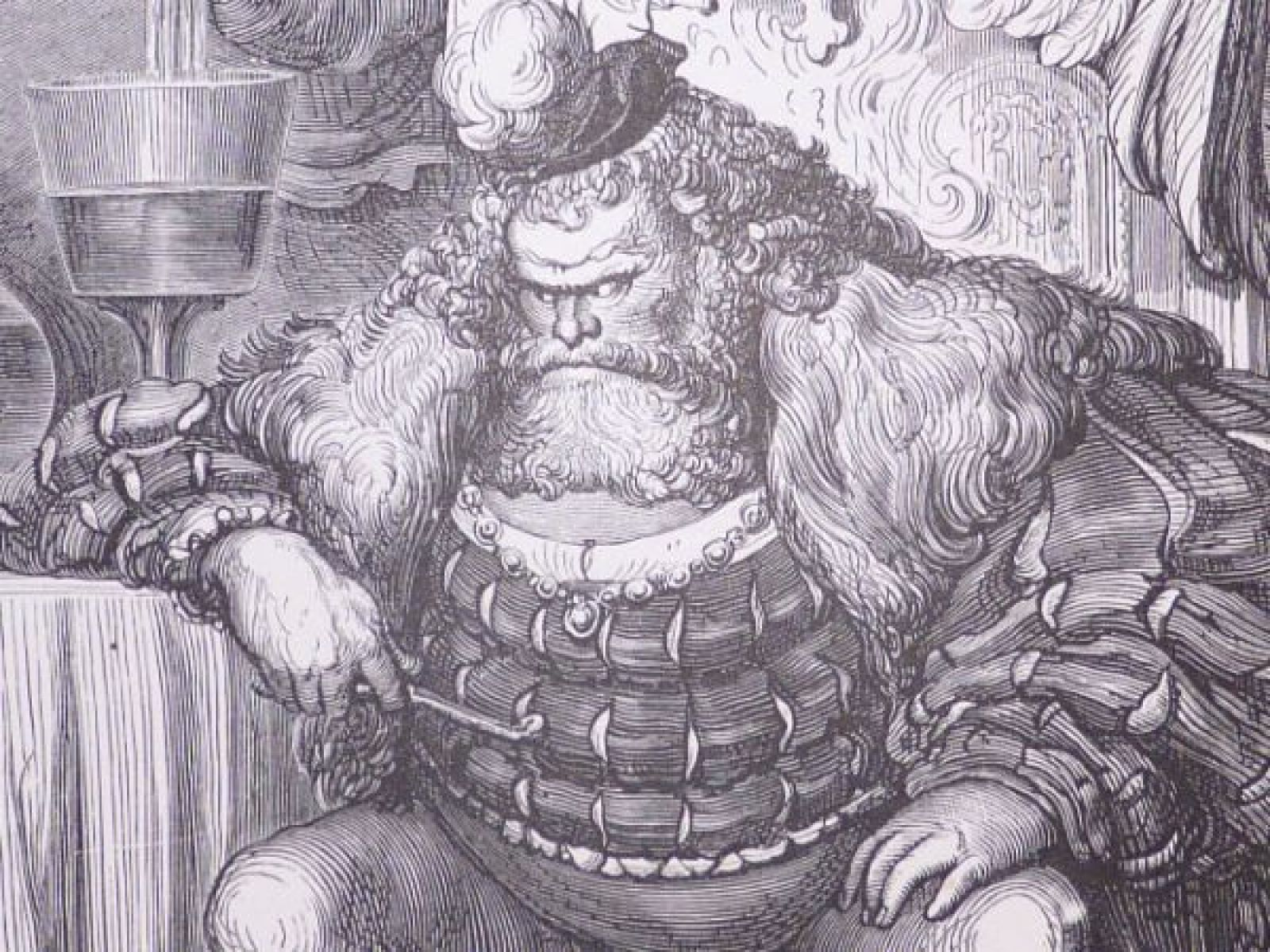 Dore charles perrault contes le chat bott chez l 39 ogre gravure originale sur bois de fil - Dessin du chat botte ...