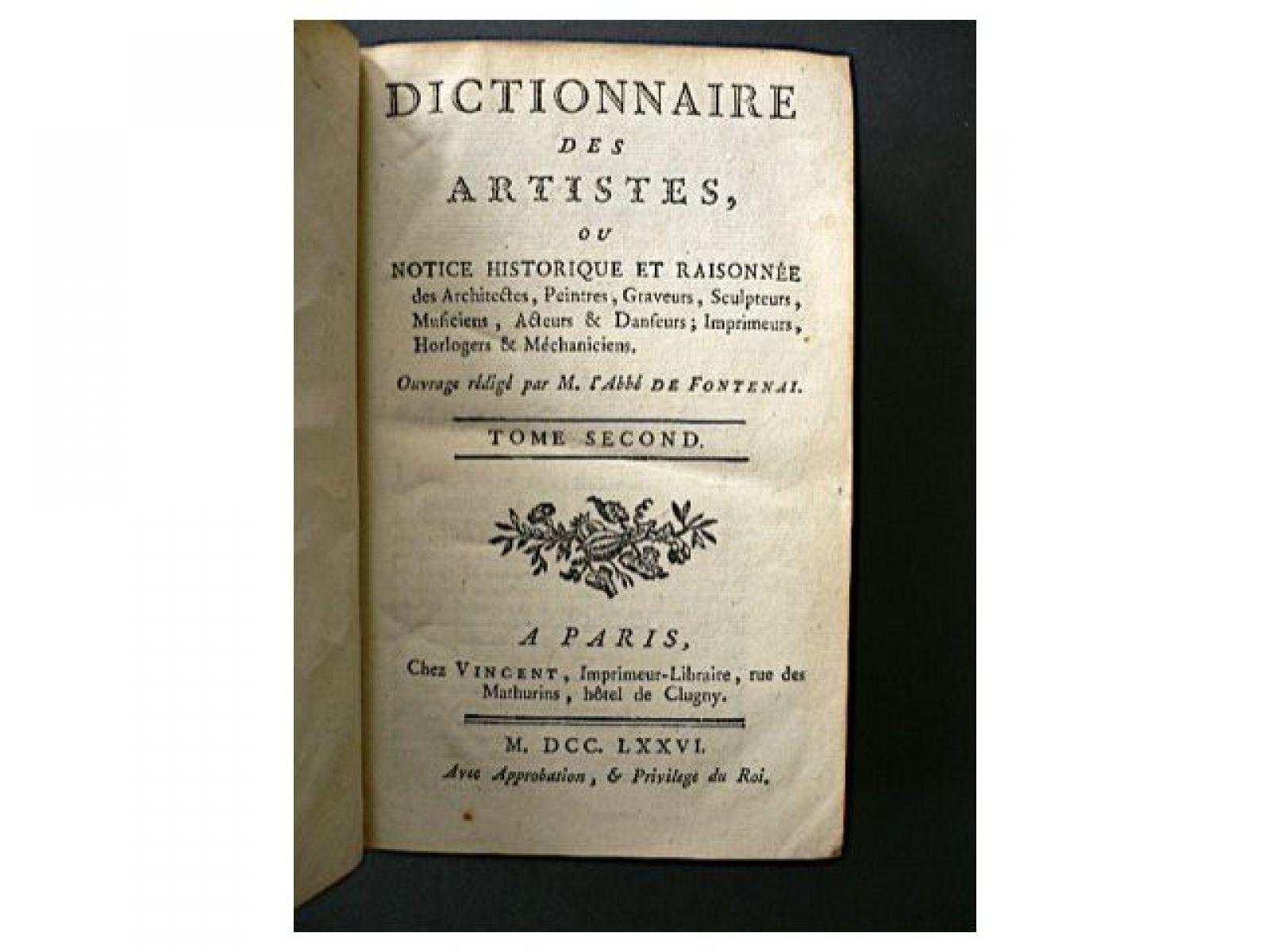 Fontenay dictionnaire des artistes ou notice for Dictionnaire des architectes