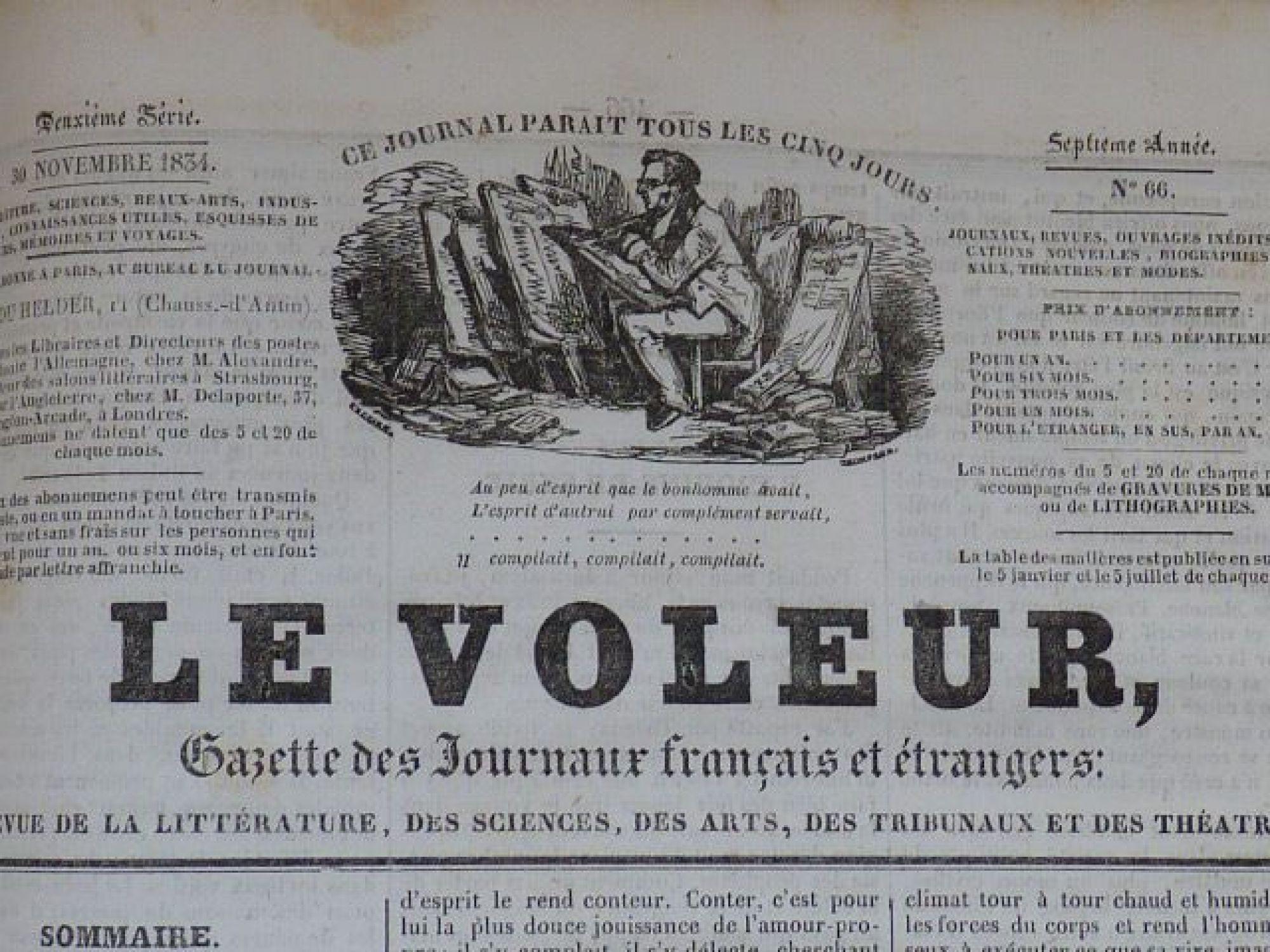 Balzac Le Voleur Gazette Des Journaux Fran Ais Et