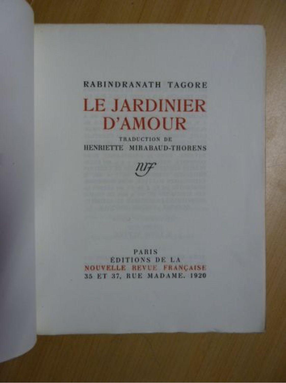 Tagore le jardinier d 39 amour edition originale for Le jardinier