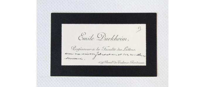 DURKHEIM Carte De Visite Autographe DEmile Durkheim