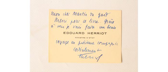 HERRIOT Carte De Visite Imprimee Enrichie Dune Dedicace A Maurice Martin Du Gard