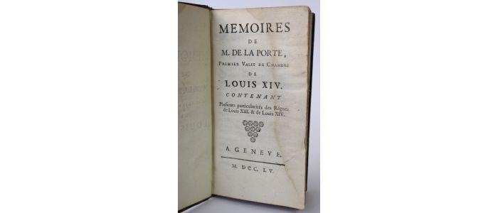LA PORTE : Memoires de M. de La Porte, premier valet de ...