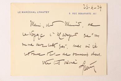 LYAUTEY Carte De Visite Imprimee Enrichie Dune Dedicace A Maurice Martin Du Gard