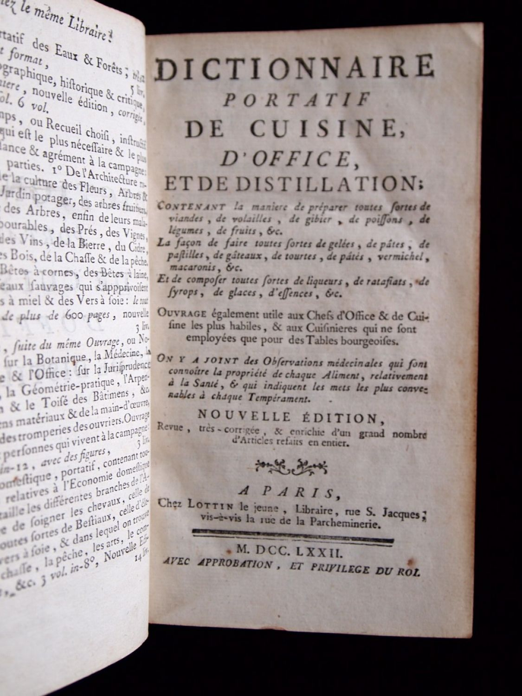 Anonyme dictionnaire portatif de cuisine d 39 office et - Dictionnaire cuisine francais ...