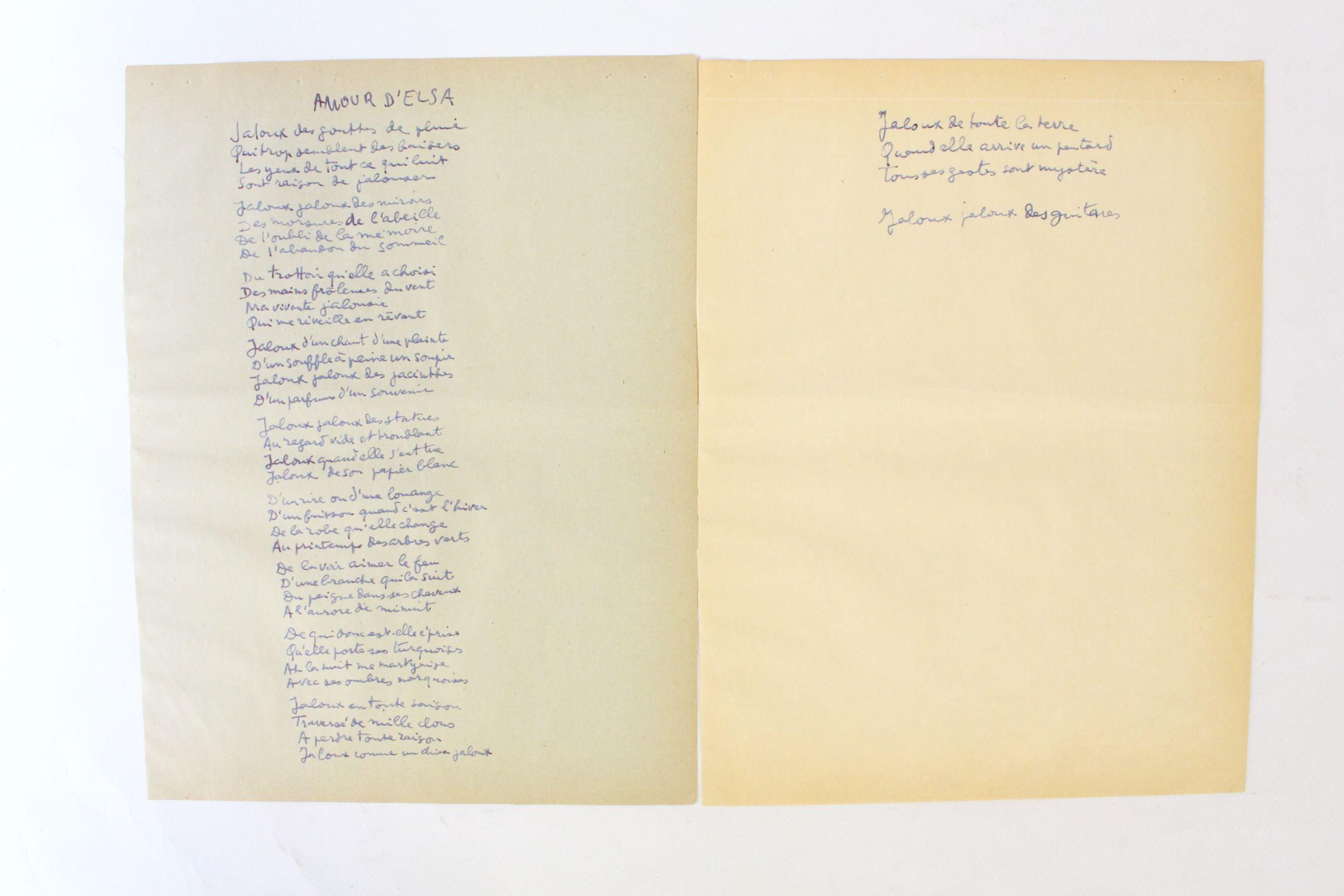 Terren Jalousie | Aragon Poeme Manuscrit Amour D Elsa Jaloux Des Gouttes De Pluie