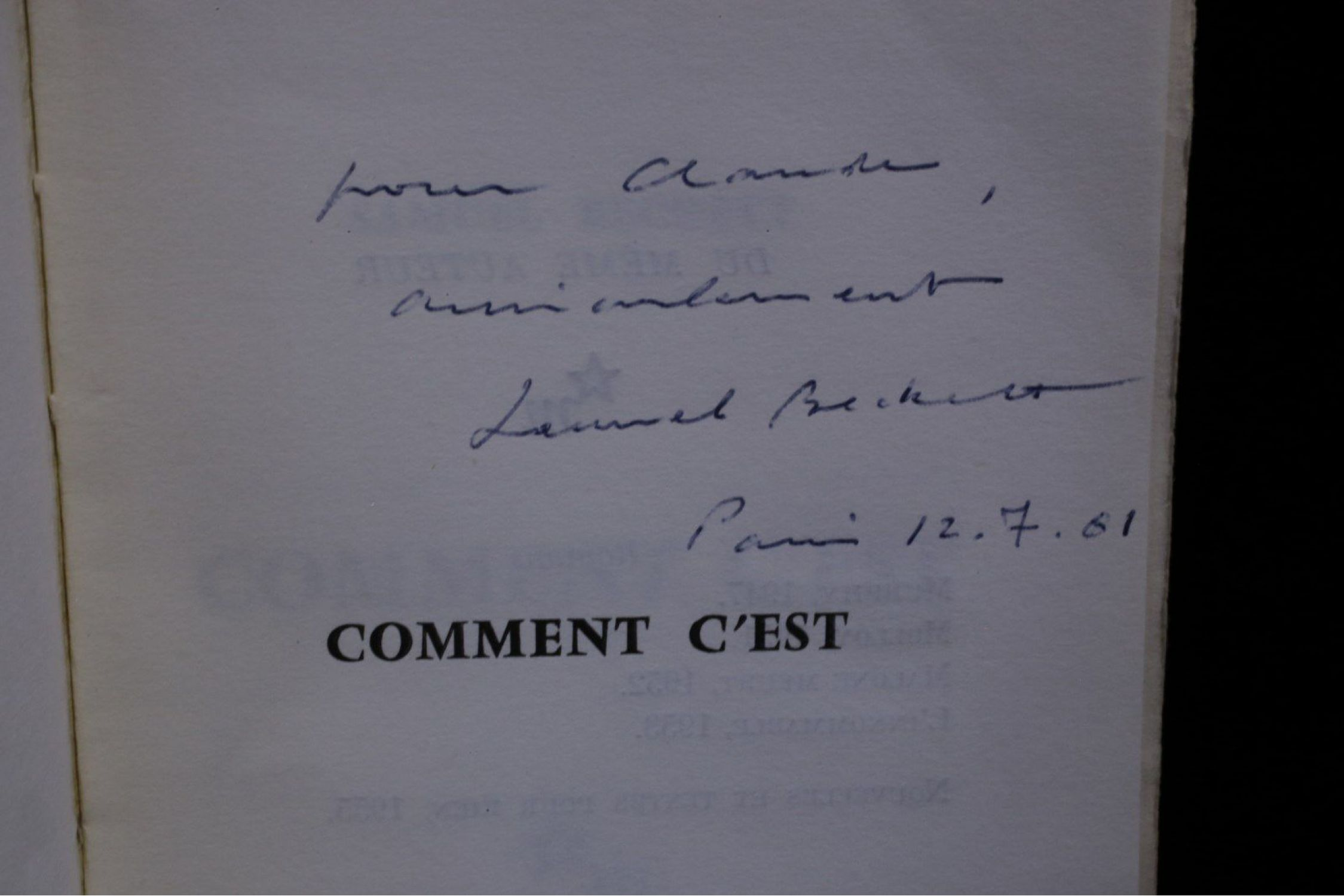 Beckett Comment Cest Signed Book First Edition Edition