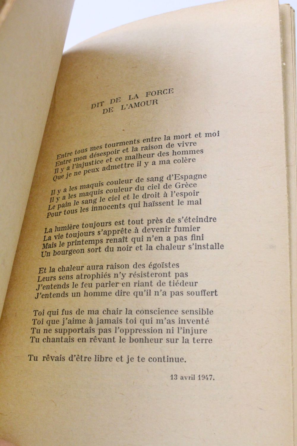 Eluard Poèmes Politiques Signed Book First Edition