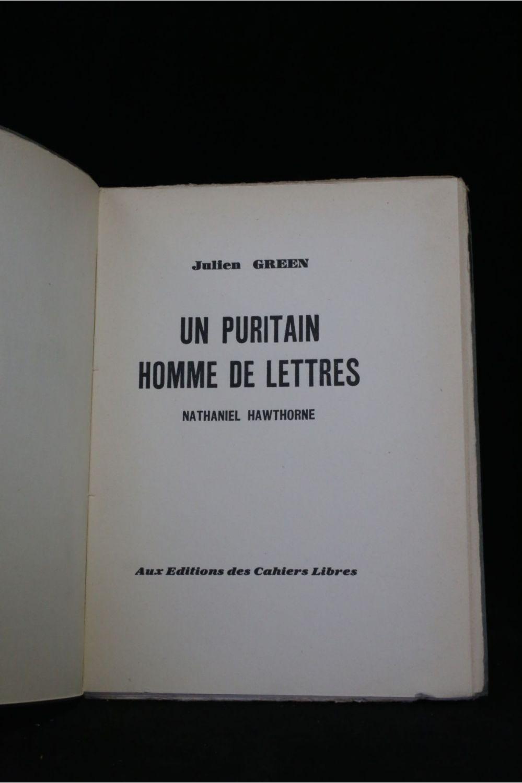 homme de lettre GREEN : Un puritain homme de lettres Nathaniel Hawthorne   First  homme de lettre