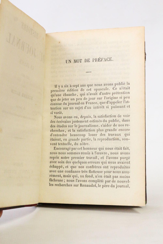 Hatin Histoire Du Journal En France 1631 1853 First Edition