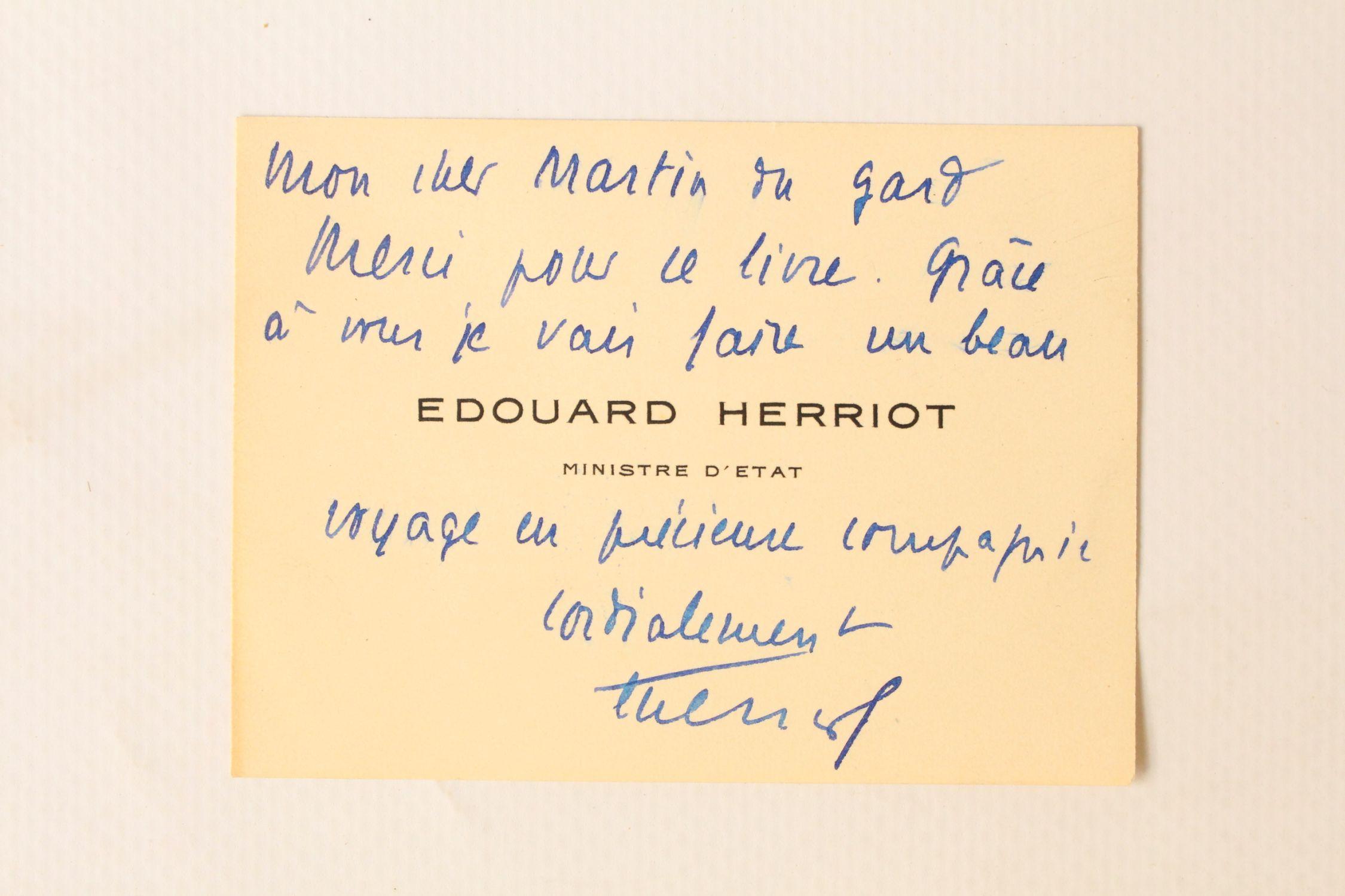 HERRIOT Carte De Visite Imprime Enrichie Dune Ddicace Maurice Martin Du Gard