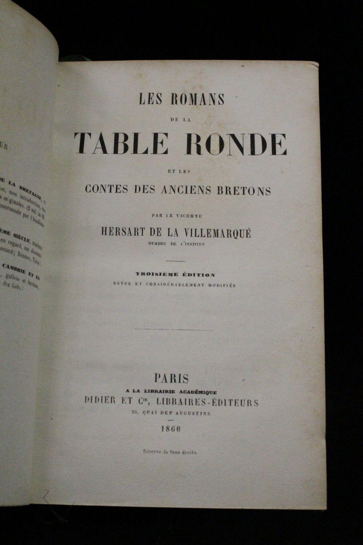 Hersart De La Villemarque Les Romans De La Table Ronde Et Les Anciens Contes Bretons Edition