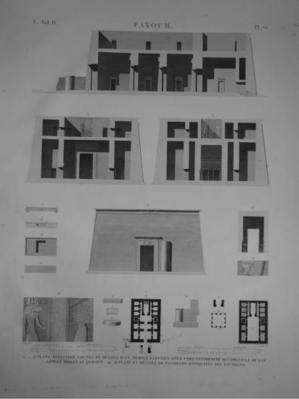 Elevation Plan Description : Description de l egypte fayoum plans élévation coupes