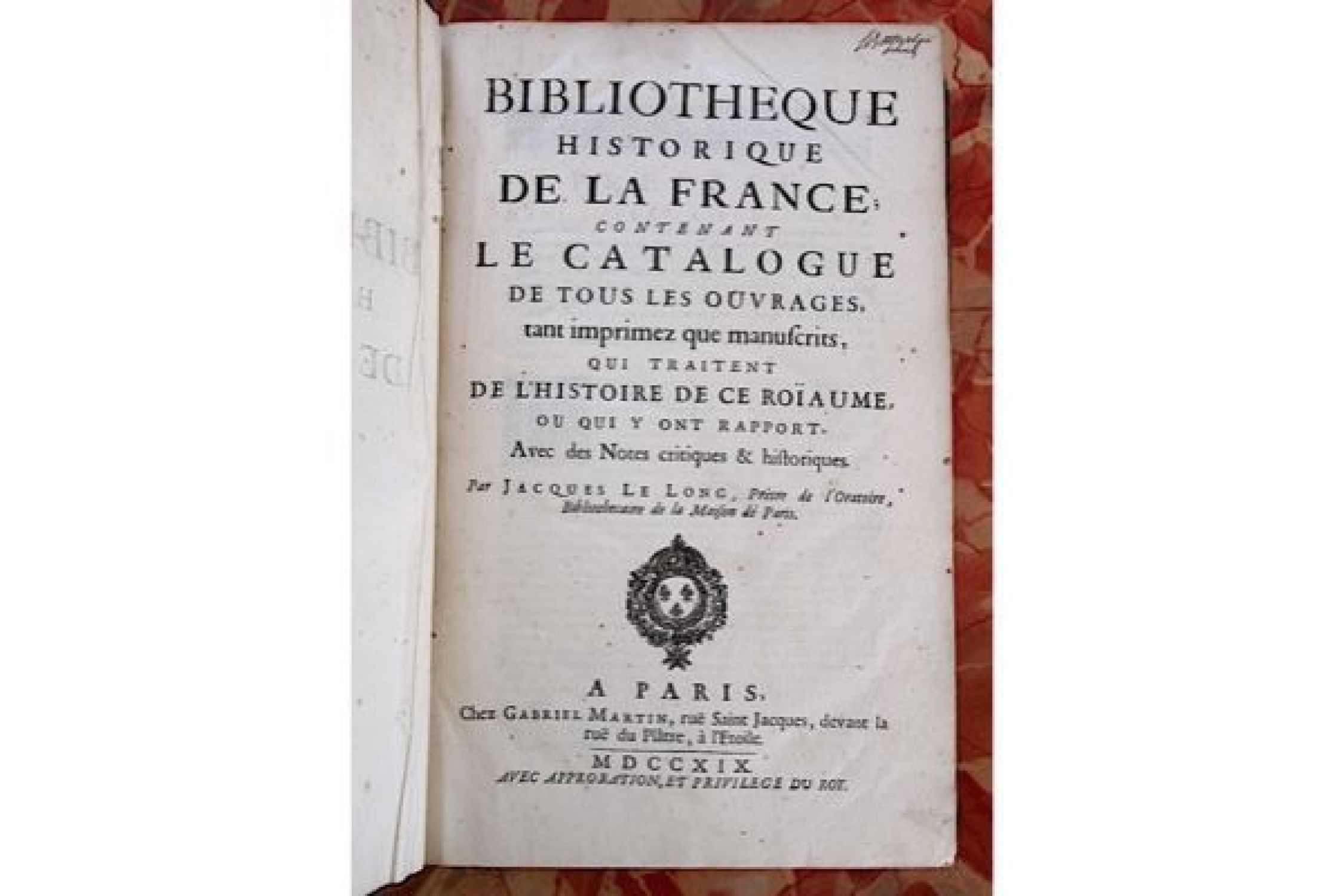 lelong bibliotheque historique de la france contenant le catalogue de tous les ouvrages. Black Bedroom Furniture Sets. Home Design Ideas