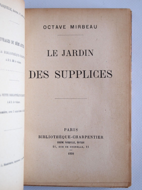 Mirbeau le jardin des supplices edition originale - Octave mirbeau le jardin des supplices ...