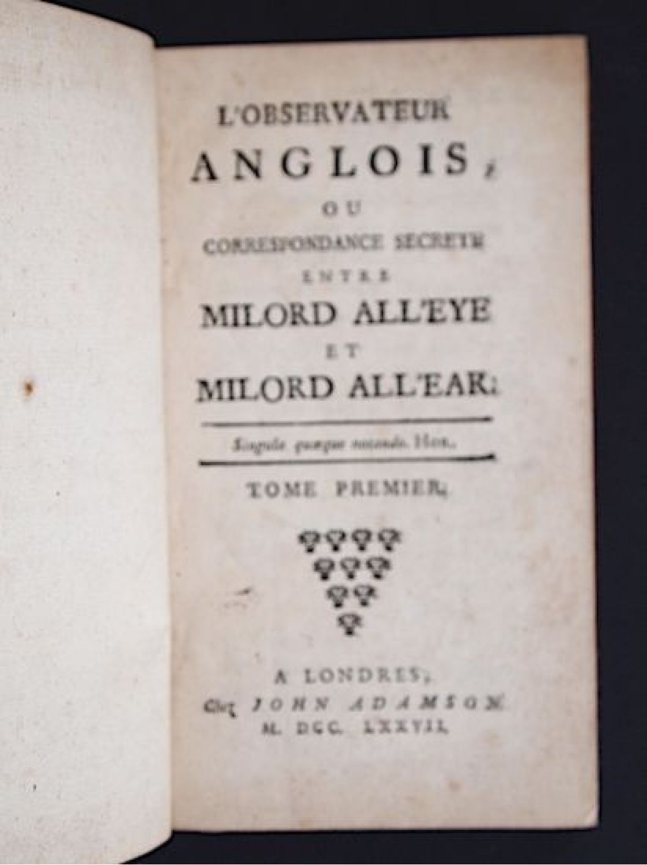 Anglois pidansat de mairobert : l'espion anglois, ou correspondance