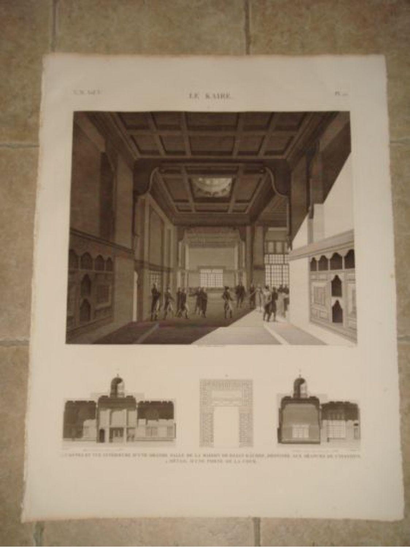 description de l 39 egypte le kaire le caire coupes et vue int rieure d 39 une grande salle de la. Black Bedroom Furniture Sets. Home Design Ideas