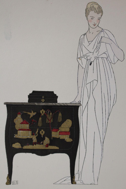 redfern la commode en laque robe du soir de worth la gazette du bon ton 1914 n 5. Black Bedroom Furniture Sets. Home Design Ideas