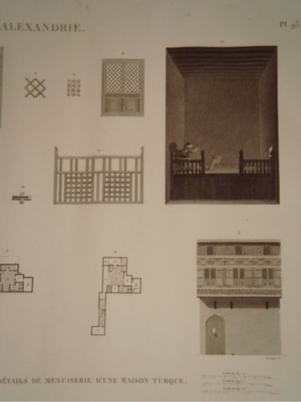description de l 39 egypte alexandrie plans coupes l vations et d tails de menuiserie d 39 une. Black Bedroom Furniture Sets. Home Design Ideas