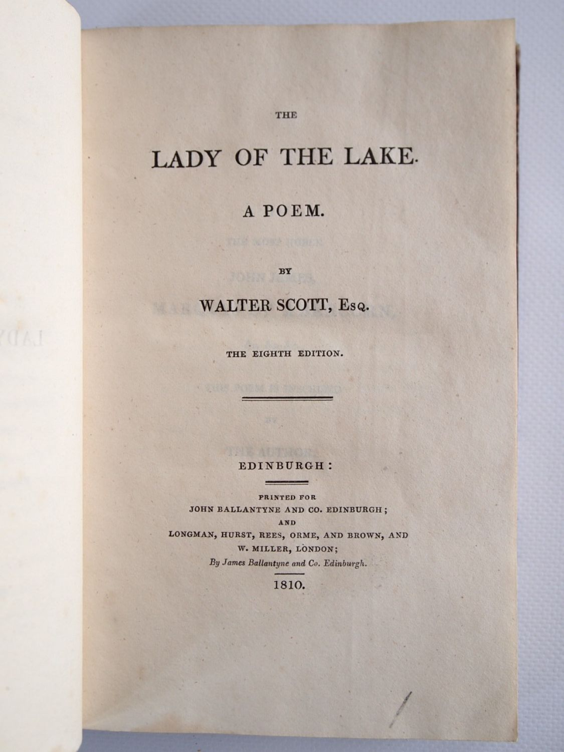 SCOTT : The lady of the lake. A poem - Edition-Originale.com