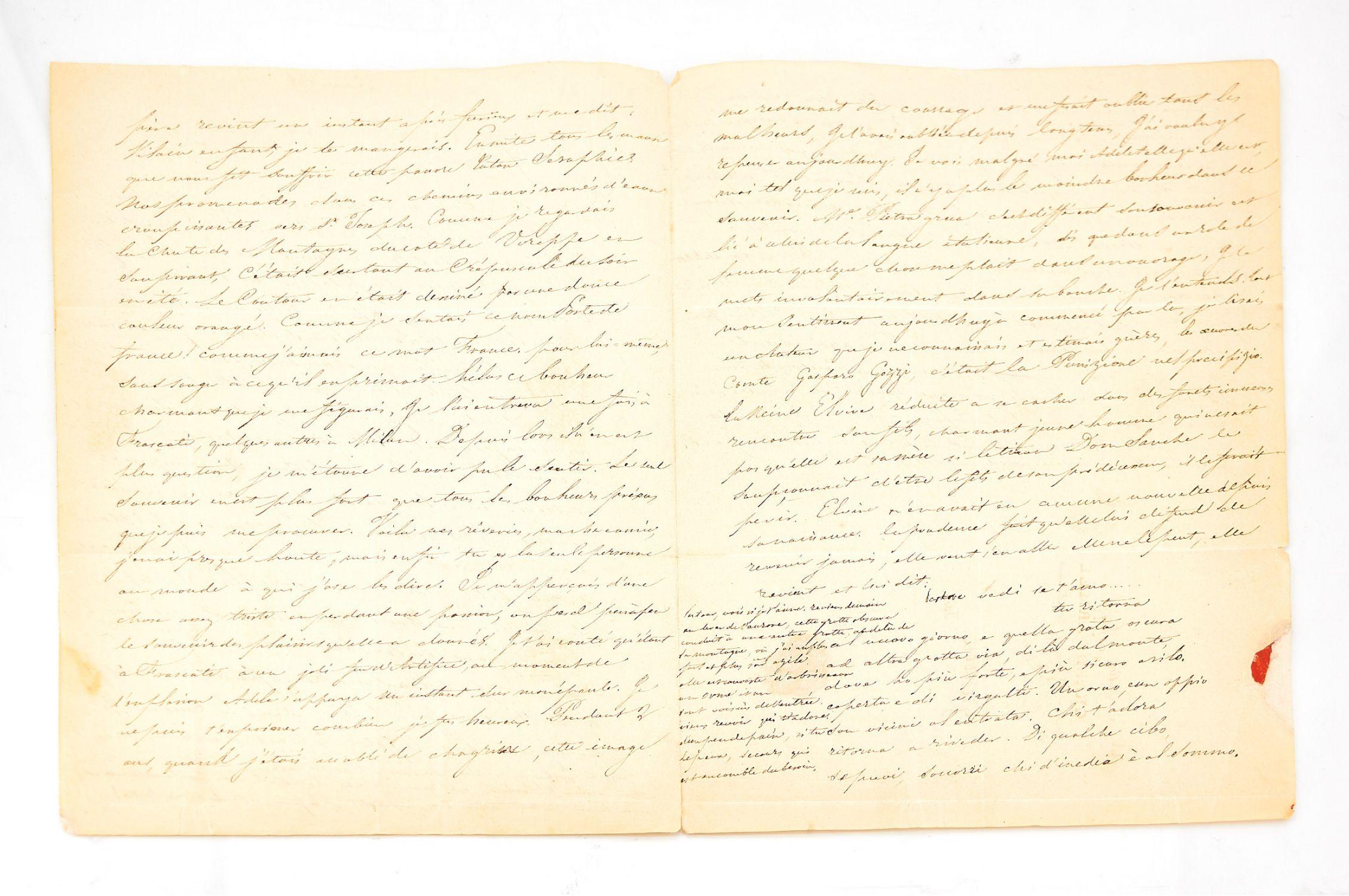 Stendhal Lettre Autographe Adressée à Sa Soeur Pauline