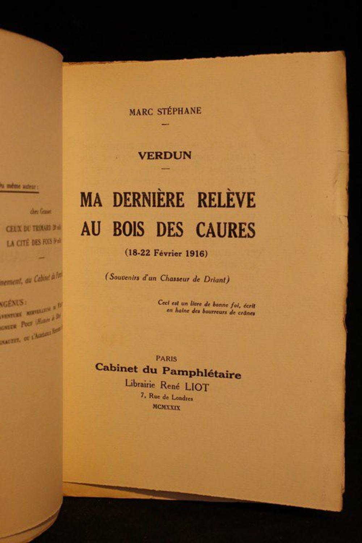 stephane ma derni re rel ve au bois des caures 18 22 f vrier 1916 autographe edition. Black Bedroom Furniture Sets. Home Design Ideas