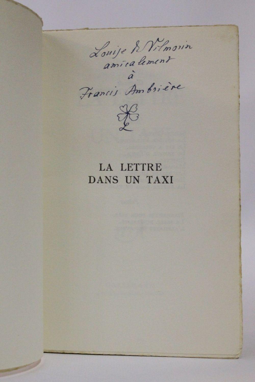 lettre originale VILMORIN : La lettre dans un taxi   Signed book, First edition  lettre originale