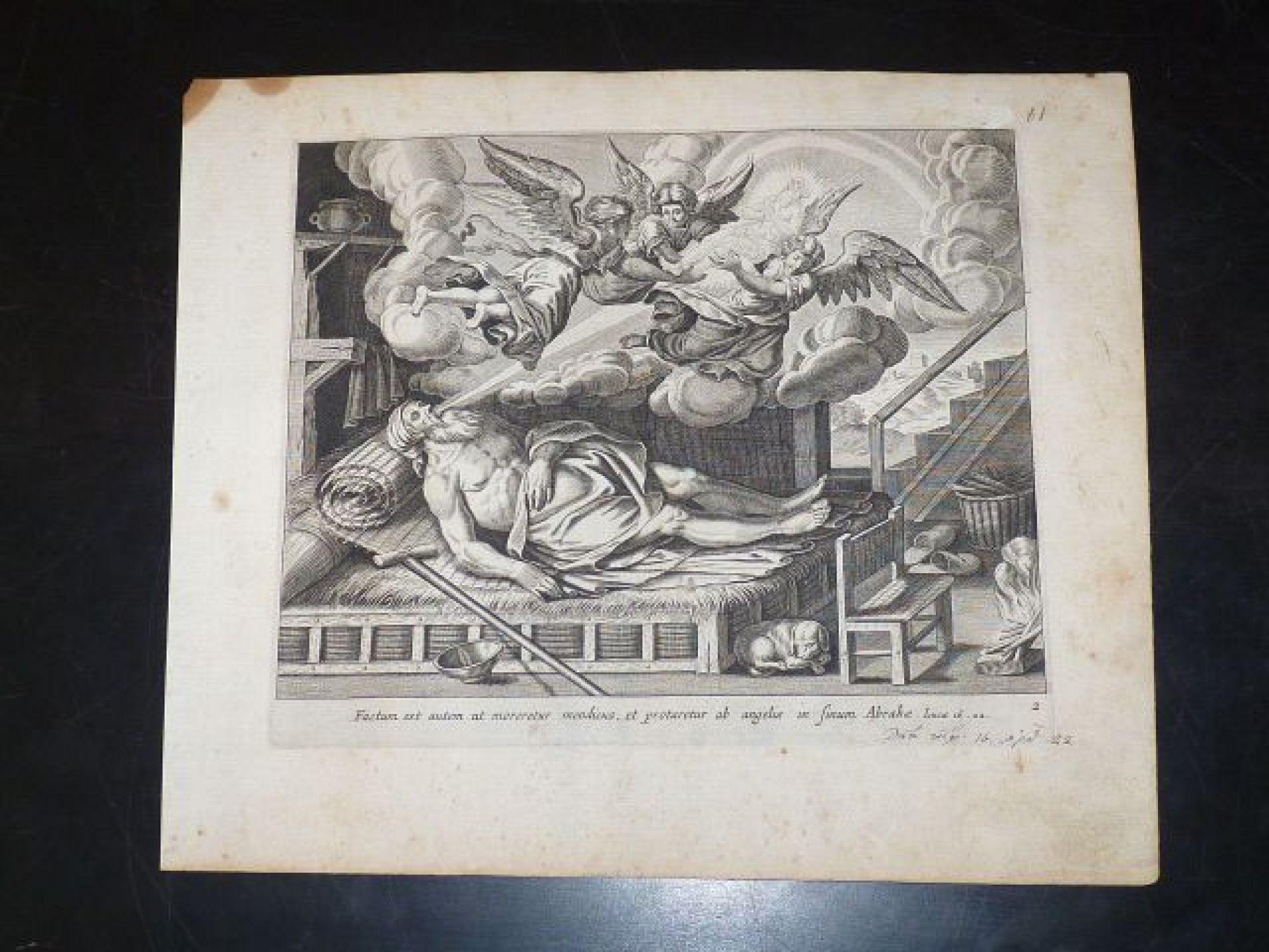 Factum est autem ut moreretur mendicus, et protaretur ab angelis in sinum  Abrahae. (Luc 16.22.). Gravure