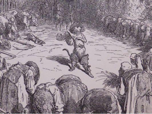 Charles perrault contes les paysans se prosternant devant le chat bott gravure originale sur - Dessin du chat botte ...