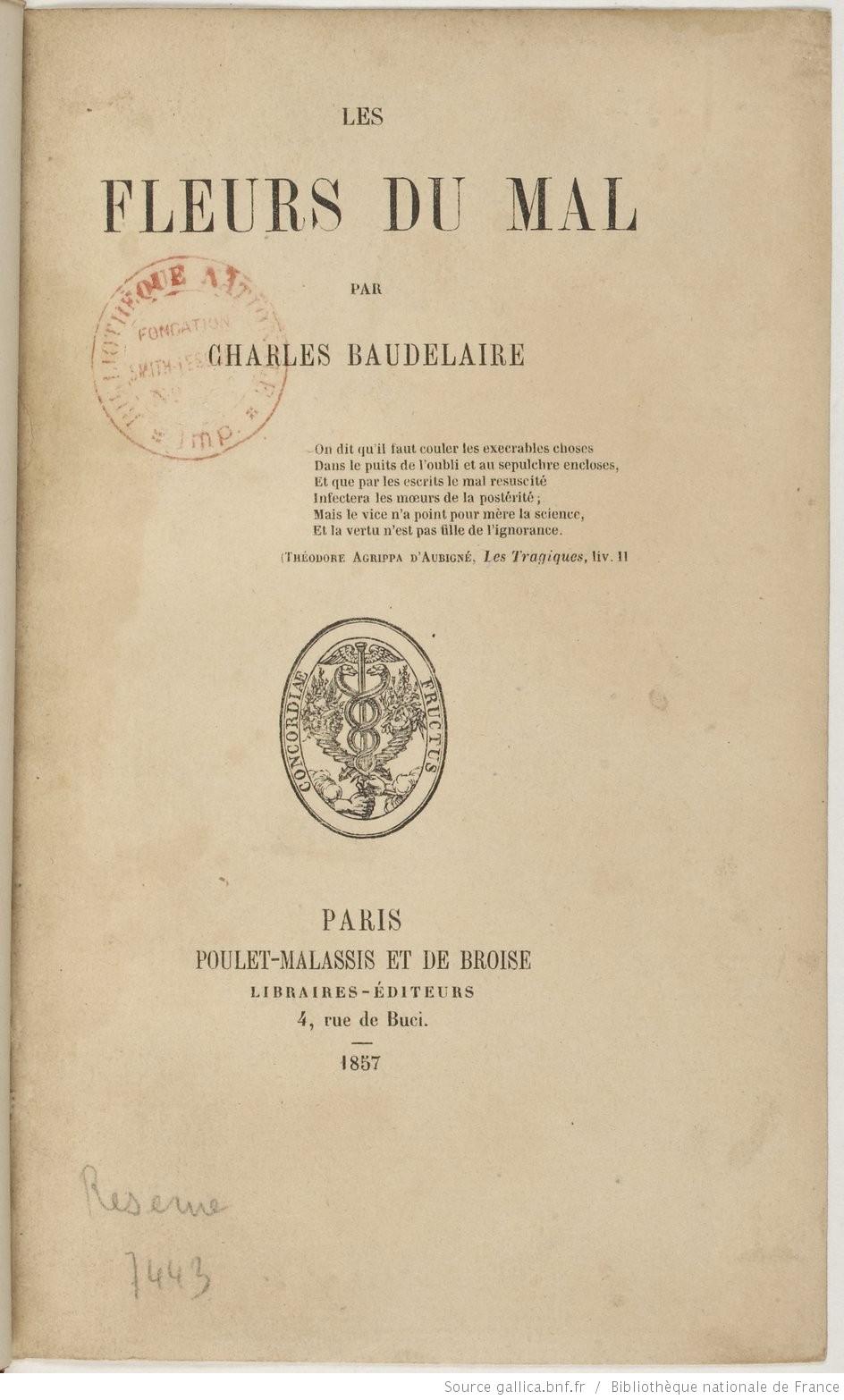 Couverture des Fleurs du Mal de Baudelaire 1857 sur Hollande