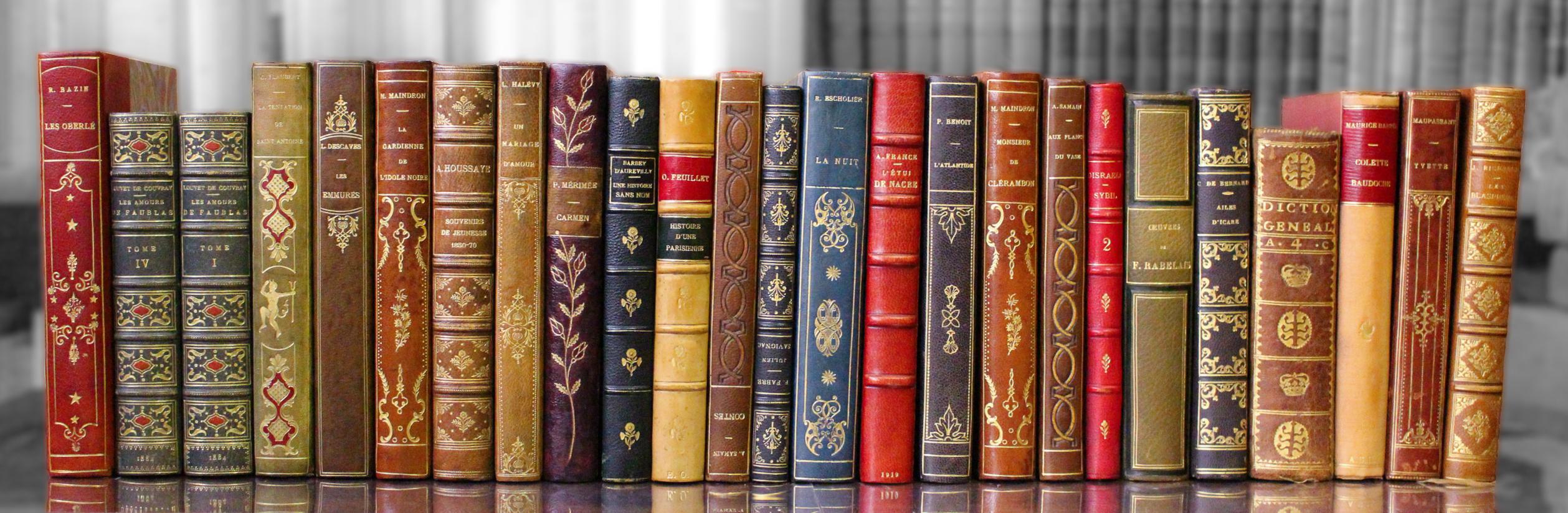 Décoration livres reliés cuir