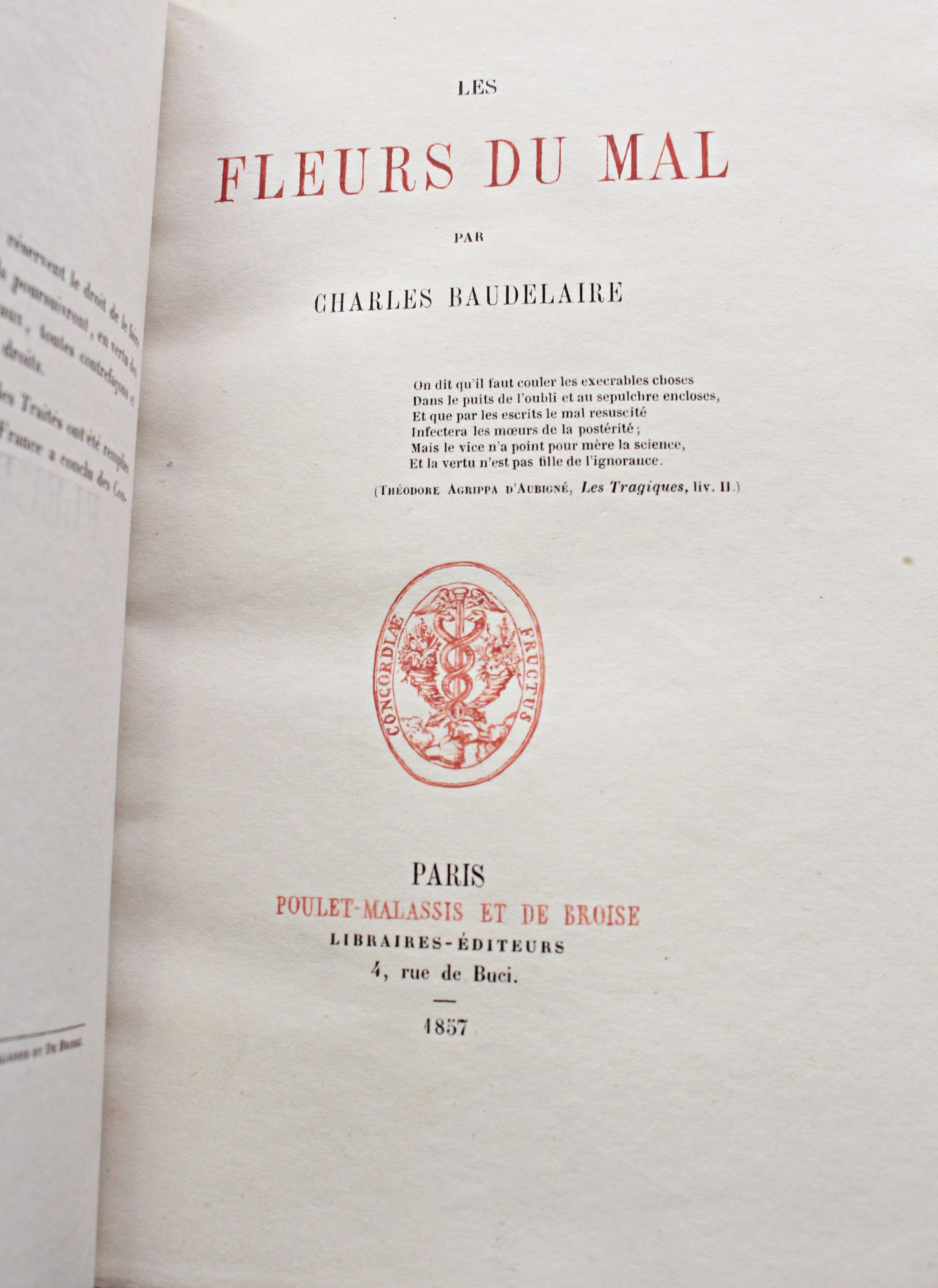 Baudelaire Les Fleurs du mal 1857 Page de titre