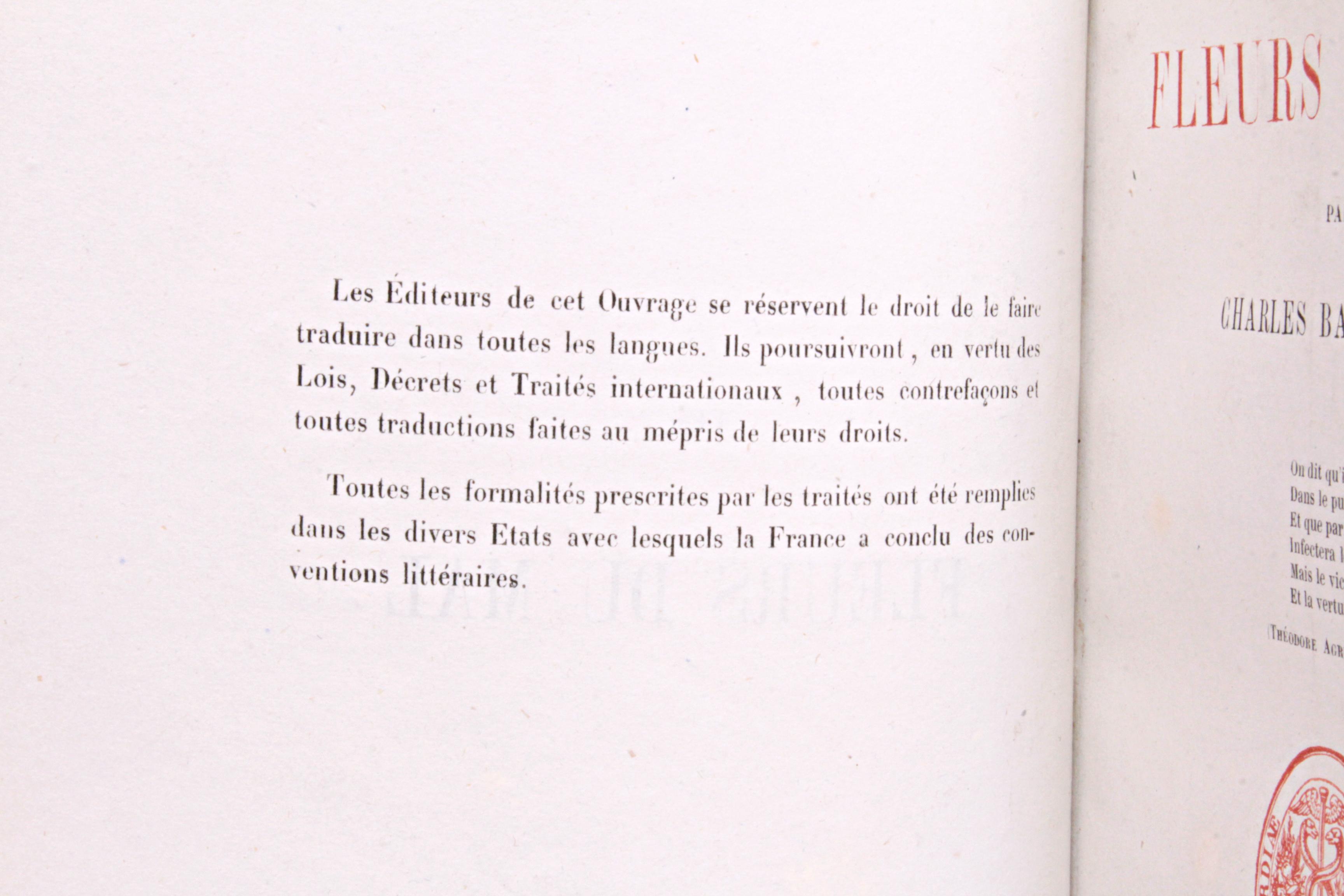 Baudelaire Fleurs du mal premier tirage 1857 avertissement