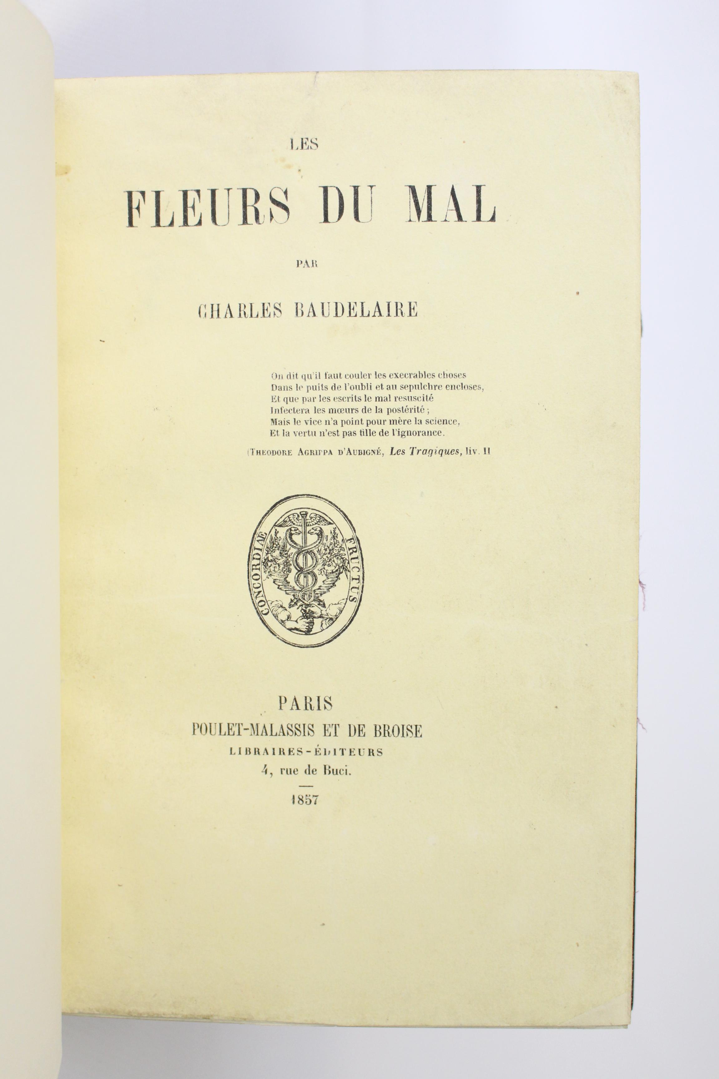 Couverture des Fleurs du Mal de Baudelaire 1857, premier tirage